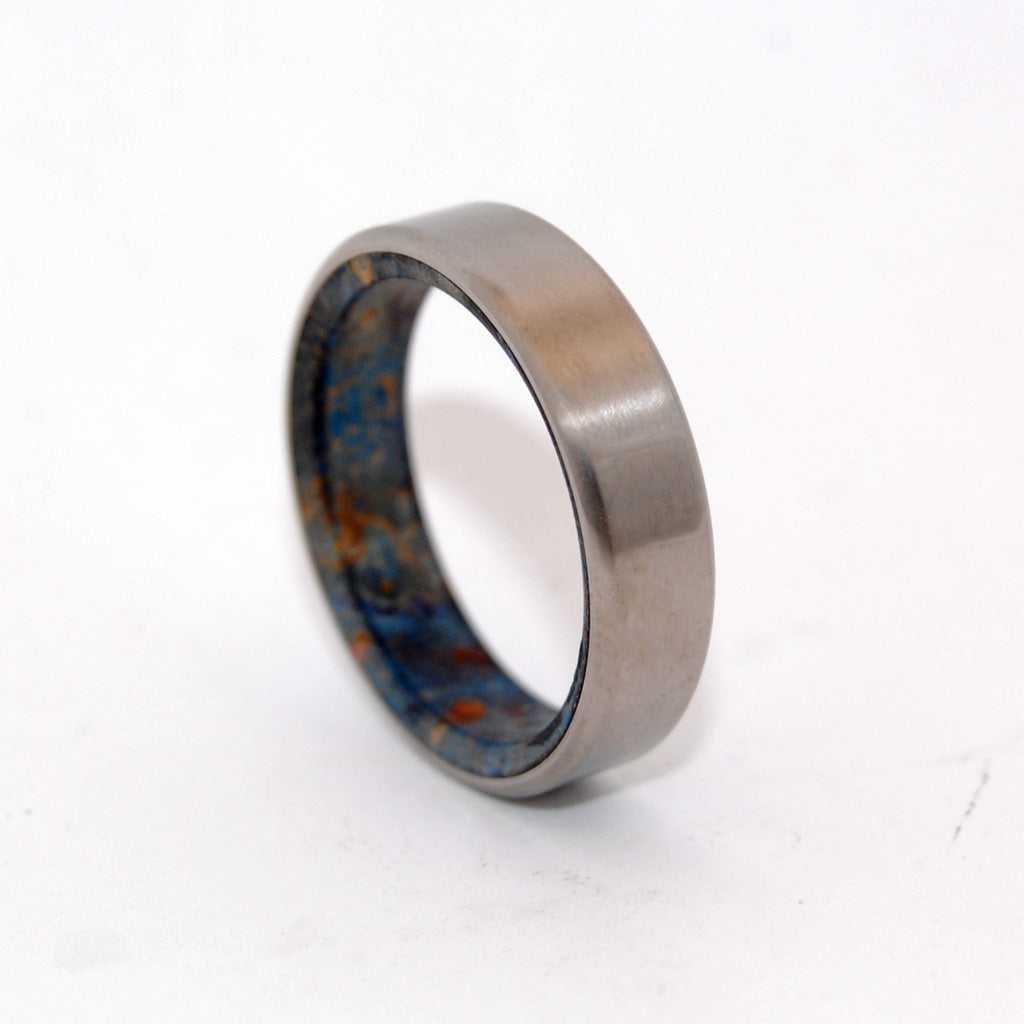 BLOWN AWAY | Blue Box Elder Wood - Handcrafted Titanium Wedding Rings - Minter and Richter Designs