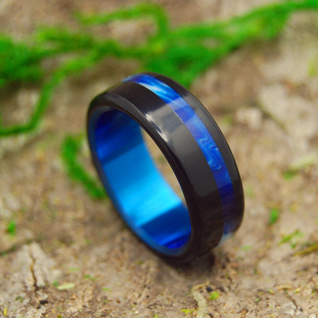 BLUE VINTAGE TRON | Black & Blue Resin Titanium Wedding Rings - Minter and Richter Designs