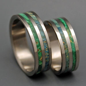 JUNGLE VINES | Box Elder Wood - Unique Wedding Rings - His and Hers Titanium Wedding Rings Set - Minter and Richter Designs