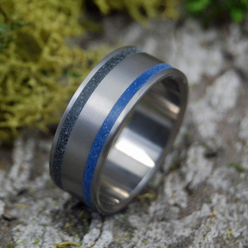 Blue Black Iceland | SIZE 9.75 AT 7.9MM | Icelandic Beach Sand | Unique Mens Wedding Bands | On Sale - Minter and Richter Designs