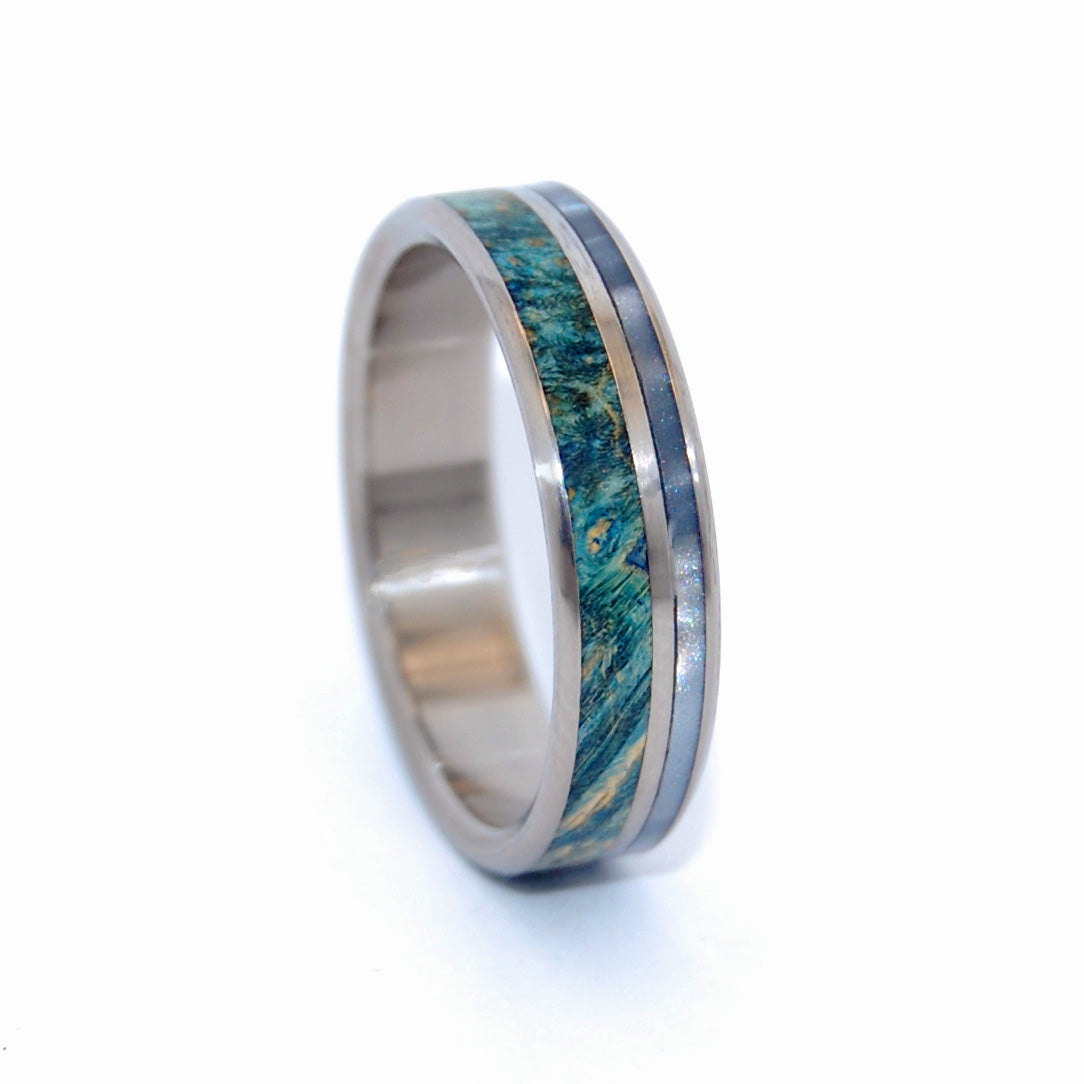 Poseidon's View | Wood and Resin Titanium Wedding Ring