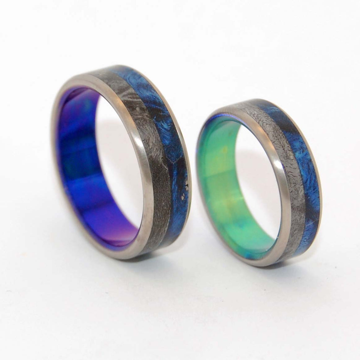 TAKE ME WITH YOU | Box Elder Wood - His and Hers Titanium Wedding Rings Set - Minter and Richter Designs