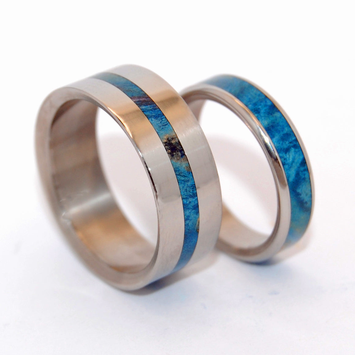 Blue Lightning and Two Hearts | Wooden and Titanium Wedding Rings