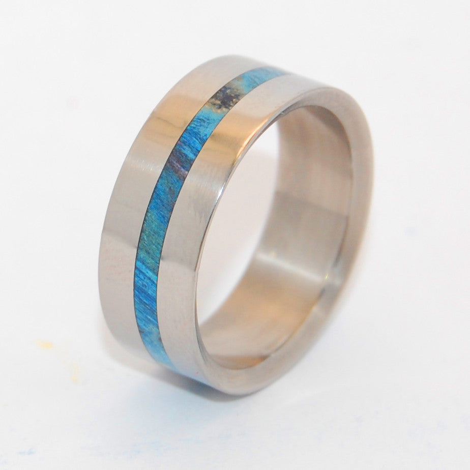 Blue Lightning | Handcrafted Wood and Titanium Wedding Ring