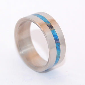 BLUE LIGHTNING | Blue Box Elder Wood & Titanium - Unique Wedding Rings - Wooden Wedding Rings - Minter and Richter Designs