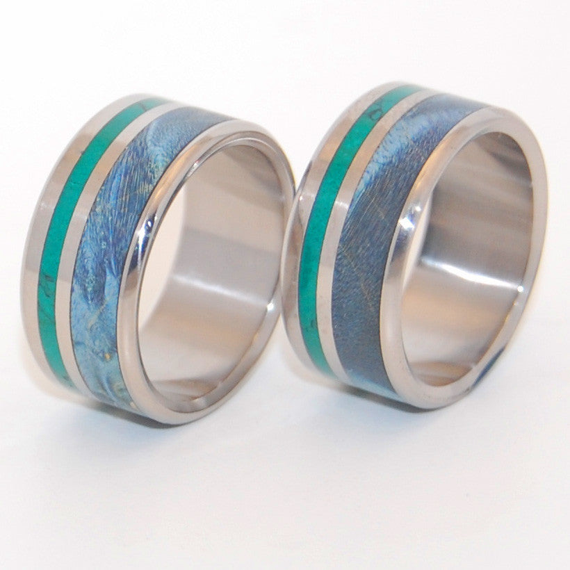 PEACEFUL WATERS | Jade & Blue Box Elder Wood Titanium Wedding Rings - Wooden Wedding Rings - Minter and Richter Designs