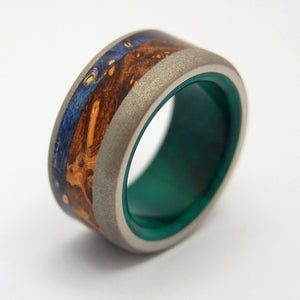 SHIKOKU ISLAND | Jade Stone, Blue Box Elder Wood & Titanium - Wooden Wedding Rings - Minter and Richter Designs