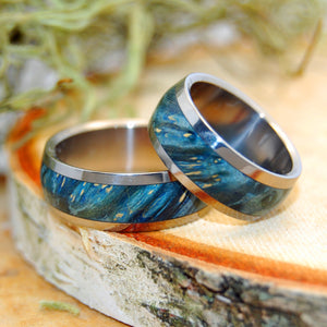 TE AMO | Blue Box Elder Wood & Titanium - Unique Wedding Rings - Wedding Rings Set - Minter and Richter Designs