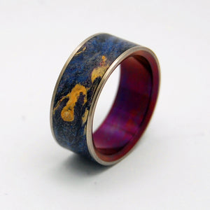 The Moment of Truth | Wood and Hand Anodized Wine - Titanium Wedding Ring