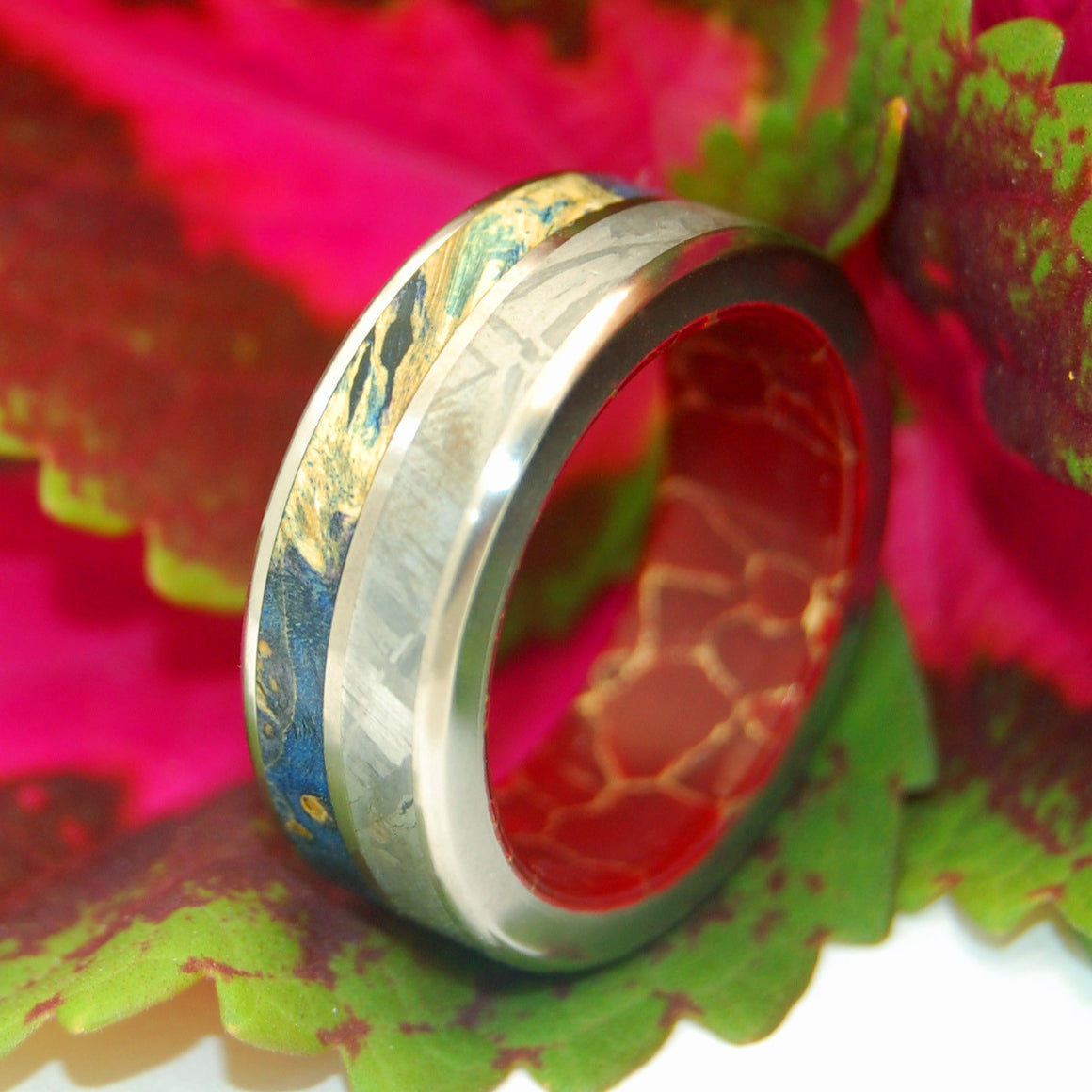 LOVE SUPERPOWER | Meteorite, Blue Box Elder Wood & Red Jasper Stone Unique Titanium Wedding Rings - Minter and Richter Designs