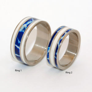 IT'S ALL GREEK TO ME! | Cobalt Stone & White Marble -Greek Wedding - Unique Wedding Rings - Minter and Richter Designs