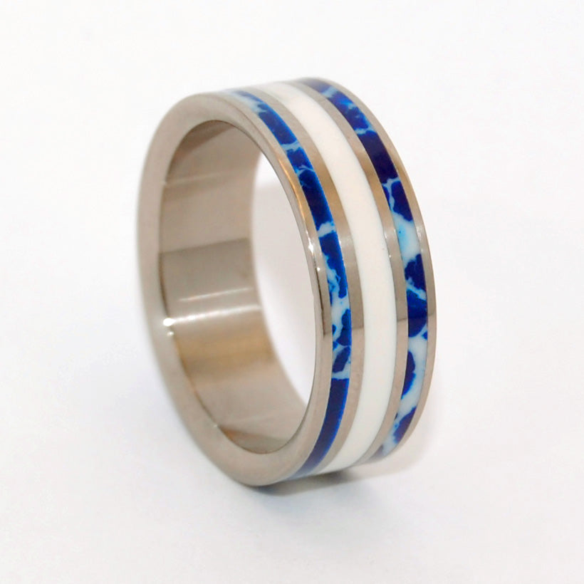 TO ME! | Cobalt Stone & White Marble - Unique Wedding Rings - Minter and Richter Designs