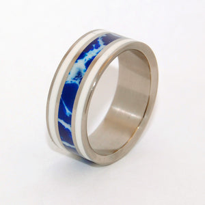 IT'S ALL GREEK! | Cobalt Stone & White Marble -Greek Wedding - Unique Wedding Rings - Minter and Richter Designs