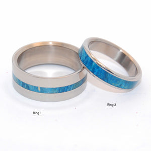 BLUE LIGHTNING TWO HEARTS | Blue Box Elder Wood - Wooden & Titanium Wedding Rings - Minter and Richter Designs