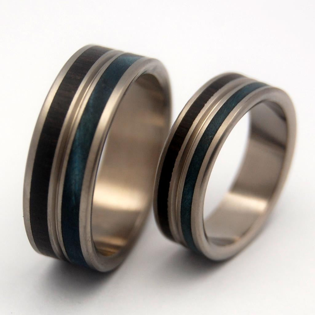 MESMERIZE | African Black Wood & Blue Maple - Titanium Wedding Rings - Unique Wedding Rings Sets - Minter and Richter Designs