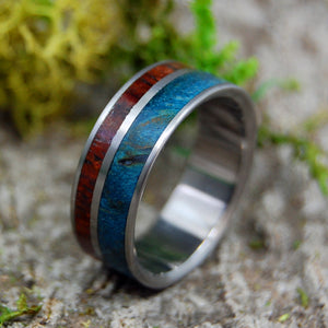 HER HEART LISTENS | Blue Maple Burl & Cocobolo Wood Titanium Wedding Rings - Minter and Richter Designs