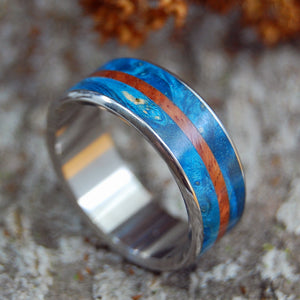 Men's Titanium Wedding Rings - Wooden Wedding Rings | BLUE MAPLE SURF - Minter and Richter Designs