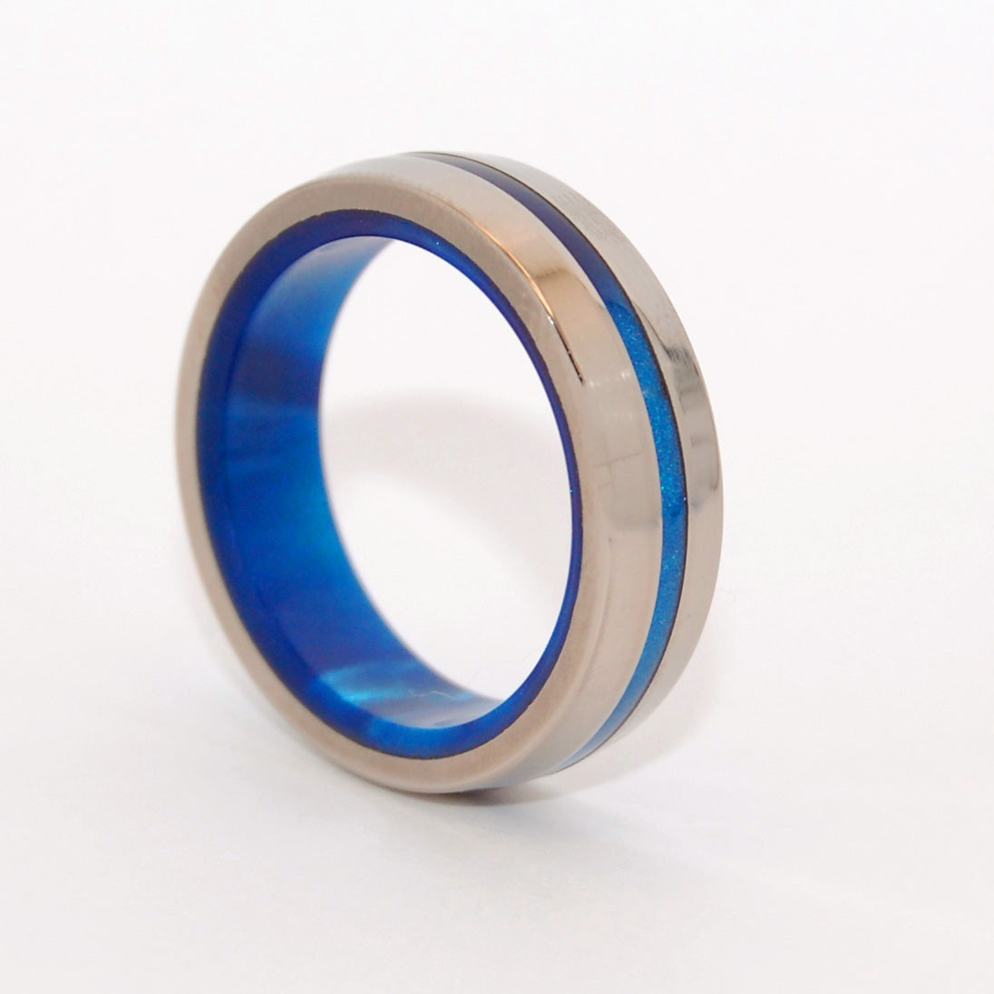 DOUBLY INSPIRED BY BLUE | Blue Marbled Opalescent Resin & Titanium Wedding Rings - Minter and Richter Designs