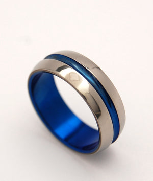 DOMED BLUE SIGNATURE RING | Blue Anodized Titanium Men's Wedding Rings - Minter and Richter Designs