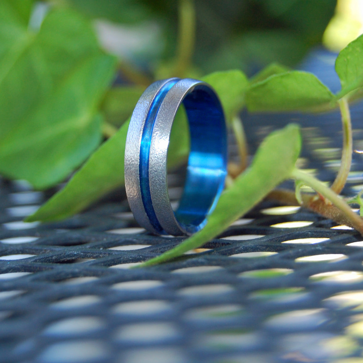 Wire Wheeled Blue Signature Ring | Hand Anodized Titanium Wedding Ring - Minter and Richter Designs