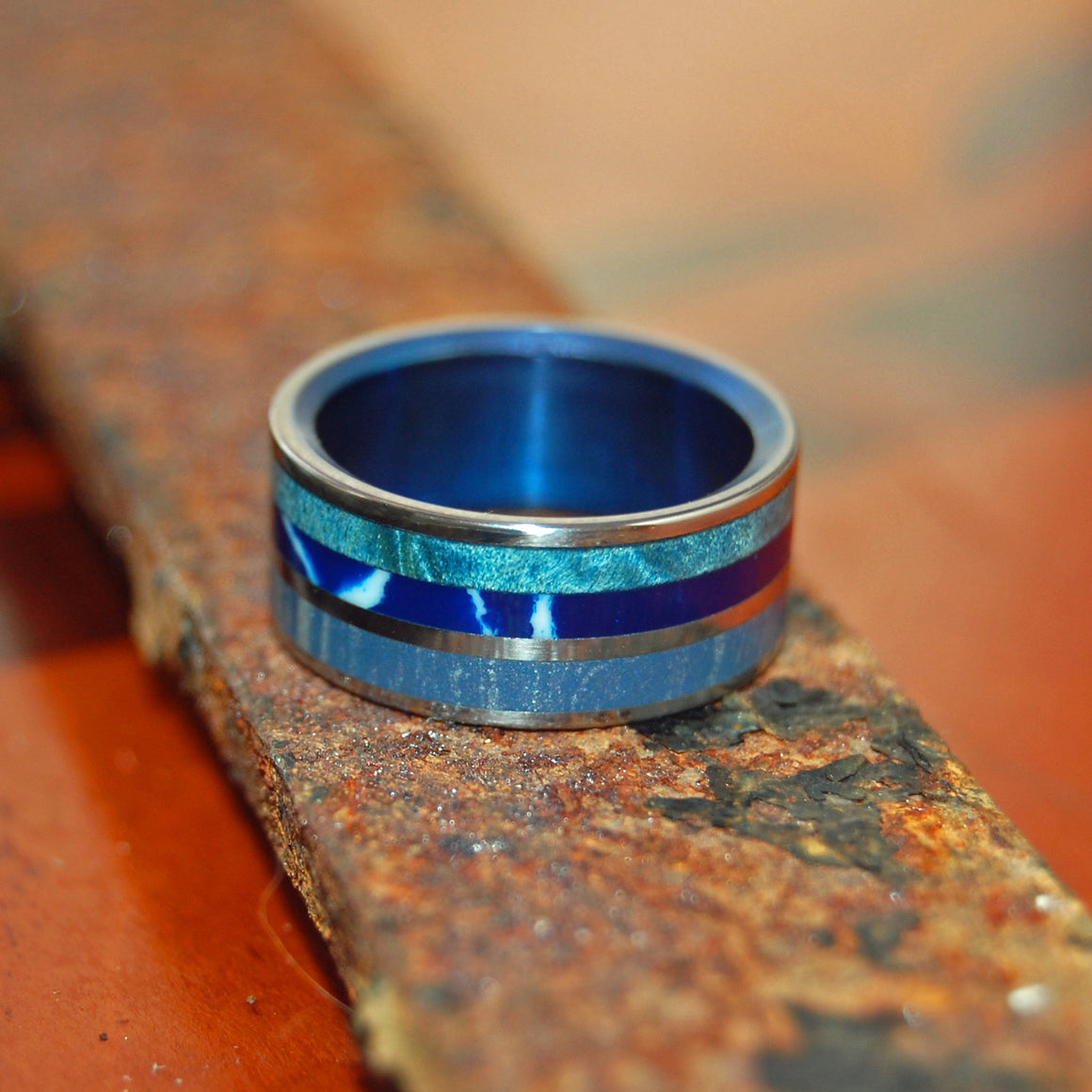 The Sea has many Moods | M3-Stone-Wood Titanium Wedding Band