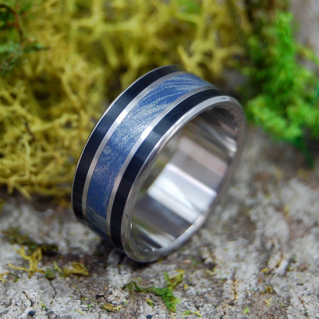 DECISION MADE | Onyx Stone and Blue Silver M3 Men's Titanium Wedding Rings - Minter and Richter Designs