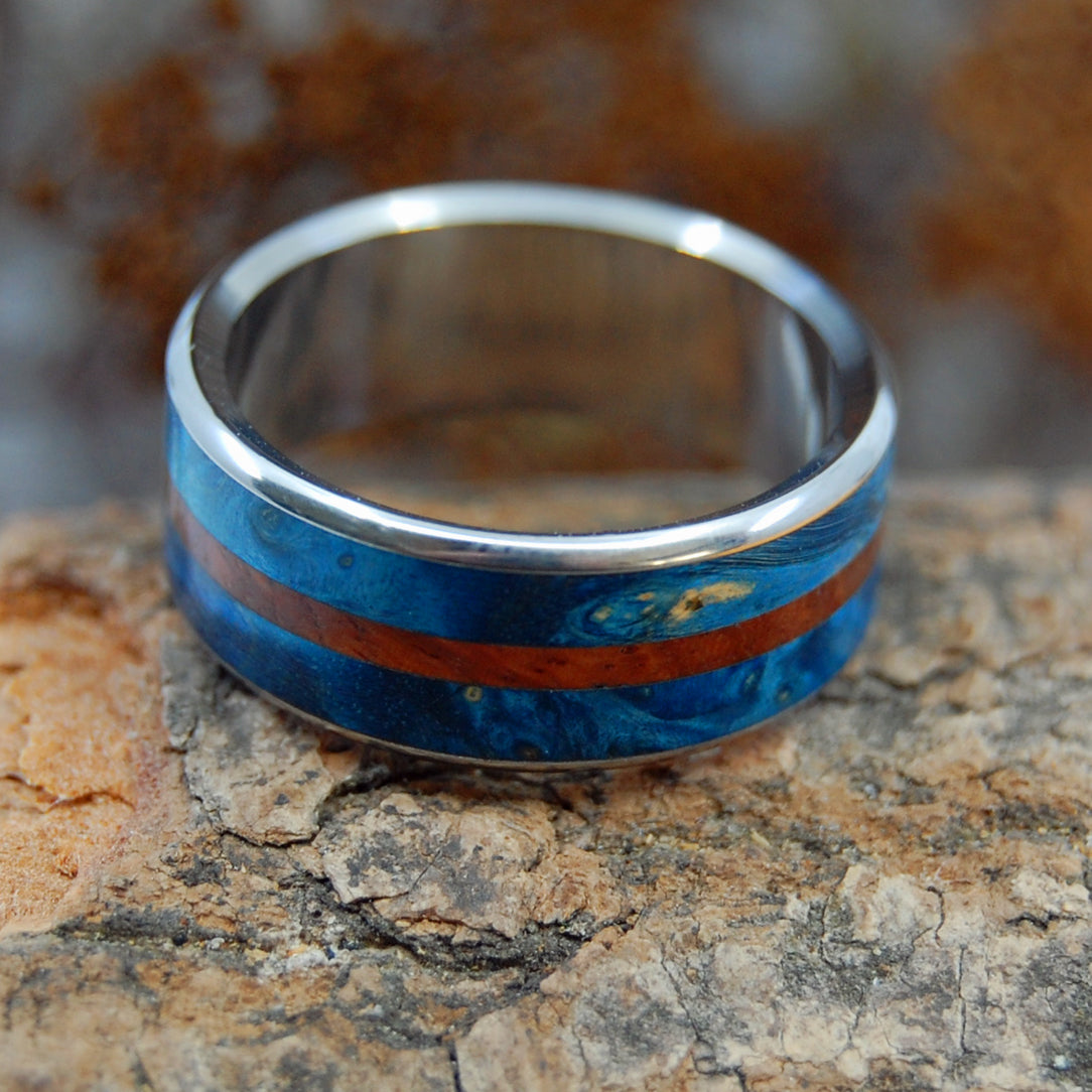 BLUE MAPLE SURF | Titanium & Wood Mens Wedding Rings - Minter and Richter Designs
