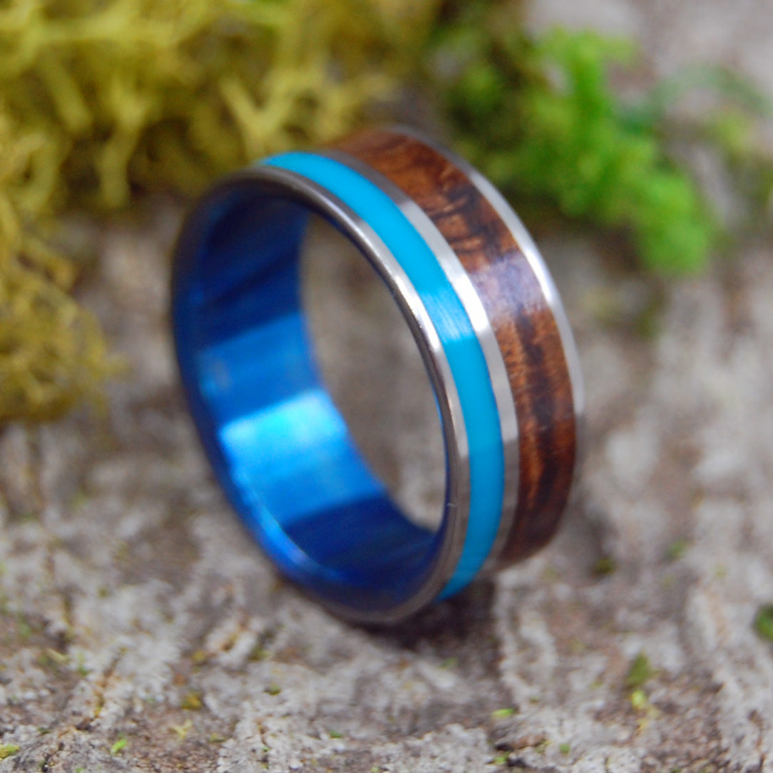 Mens Wedding Rings - Custom Mens Rings - Wood Rings | WOODED COVE BLUE