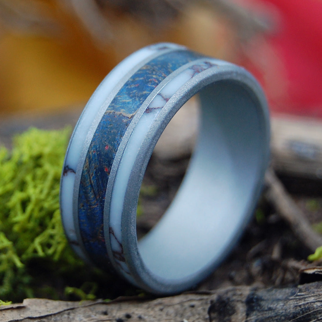 WILD RIVER | Wild Horse Jasper Stone & Blue Maple Wood - Unique Wood Wedding Ring - Minter and Richter Designs