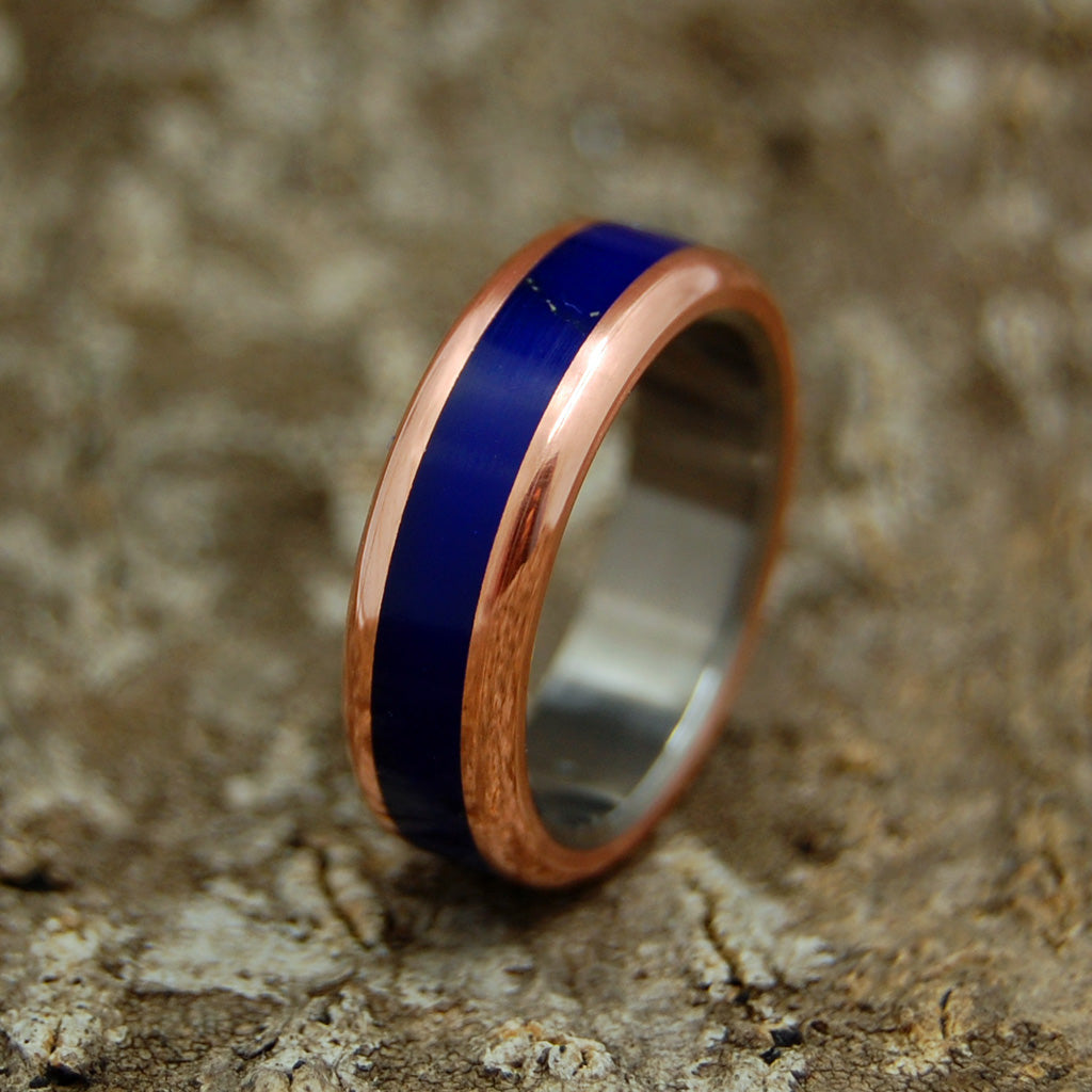 THE BODY OF HEAVEN | Titanium, Copper & Lapis Lazuli Stone Women's Wedding Rings - Minter and Richter Designs