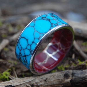 BOW TO THE KING WITH EDGES | Turquoise & Red Jasper Stone Wedding Ring - Minter and Richter Designs