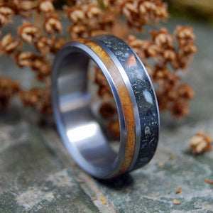 Black Wedding Ring - Mens Ring | DEER ANTLER FOOLS GOLD AND MAPLE