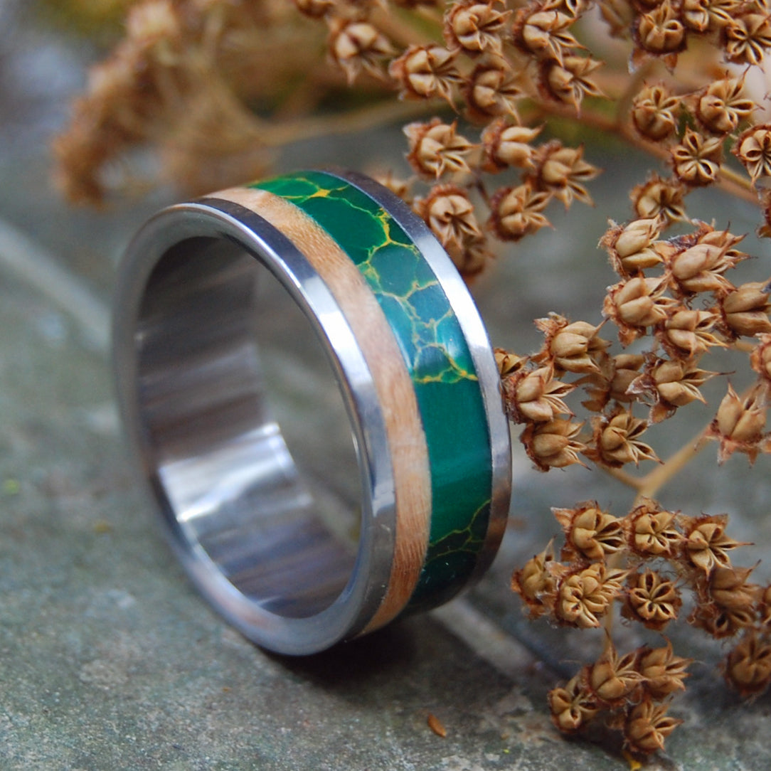 HOLD MY HAND | Egyptian Jade & Wood Wedding Rings - Minter and Richter Designs