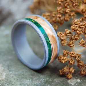 HOLD MY HAND SANDBLASTED | Egyptian Jade & Wood Wedding Rings - Minter and Richter Designs