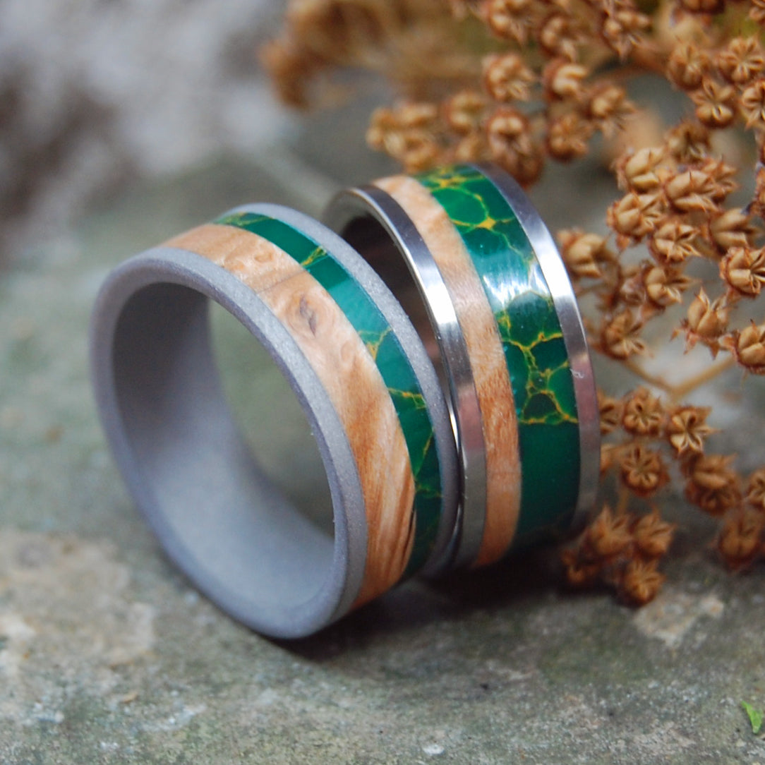 HOLD MY HAND | Egyptian Jade & Box Elder Wood Titanium Wedding Ring Set - Minter and Richter Designs