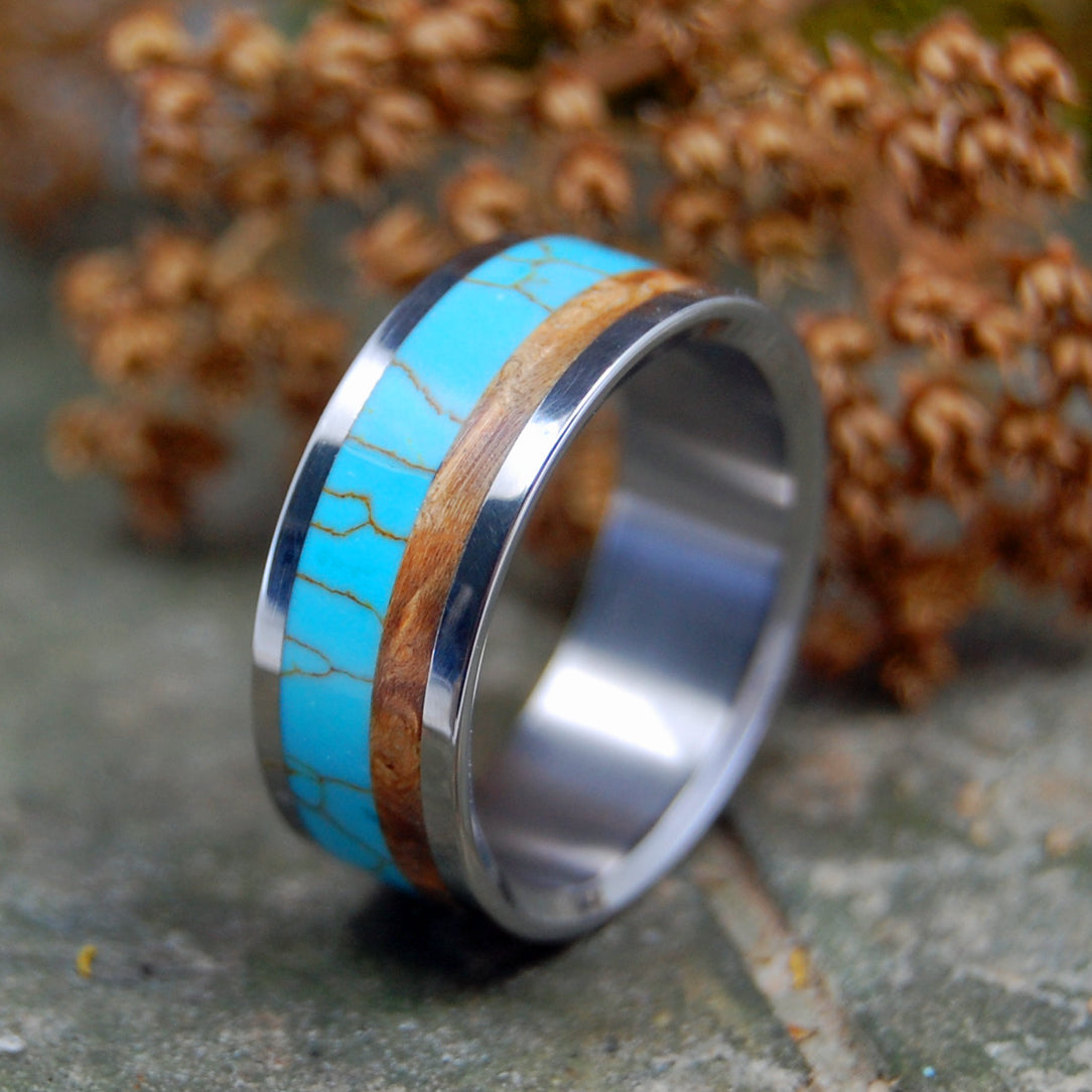 MIRRORED KINSHIP | Tibetan Turquoise & Wood Wedding Ring - Minter and Richter Designs