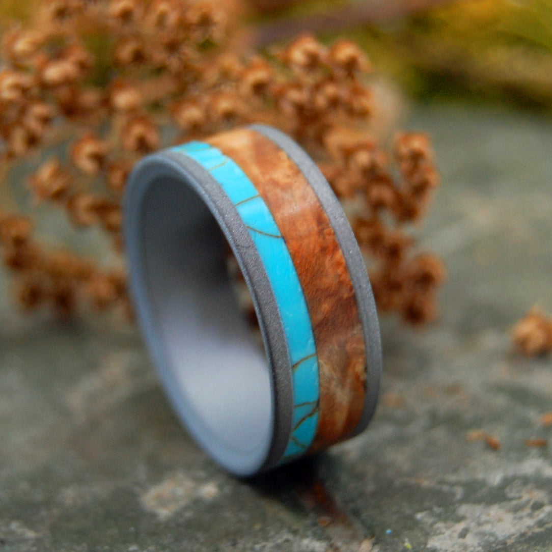 KINSHIP SANDBLASTED | Tibetan Turquoise & Wood Wedding Rings - Minter and Richter Designs