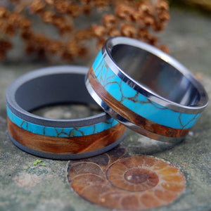 KINSHIP | Tibetan Turquoise & Box Elder Wood Titanium Wedding Ring Set - Minter and Richter Designs