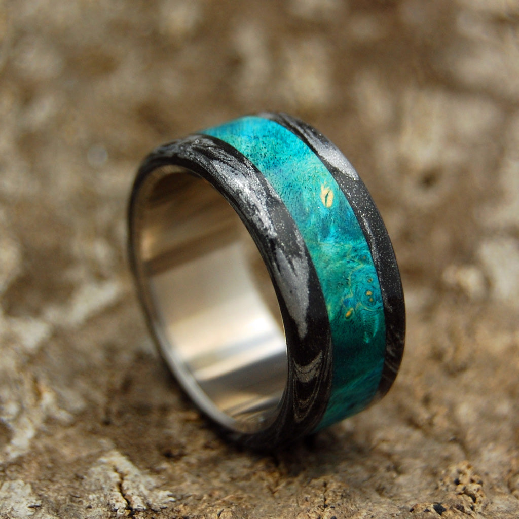 BRIGHT GREEK GOD | Turquoise Blue Box Elder Wood & Black M3 Titanium Wedding Rings - Minter and Richter Designs