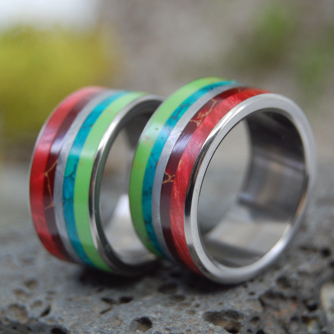 BRIGHT LION | Meteorite, Wood & Stone Titanium Wedding Rings Set - Minter and Richter Designs