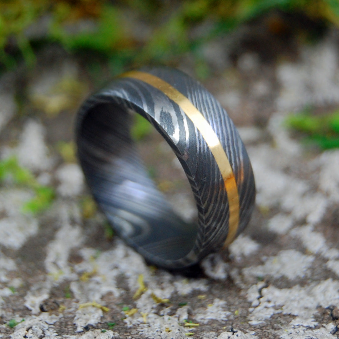 DOMED BRONZE PROMISE | Carbon Damascus & Bronze Wedding Rings - Minter and Richter Designs