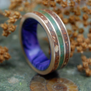 THE GOOD LIFE | Marijuana, Red Sox Dirt & Woolly Mammoth Tusk Men's Wedding Ring - Minter and Richter Designs