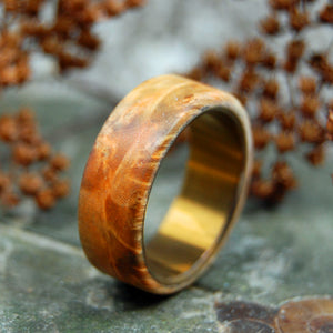 BROWN BOX ELDER WOOD OVERLAY | Wood & Titanium Wedding Band - Unique Wedding Rings - Minter and Richter Designs