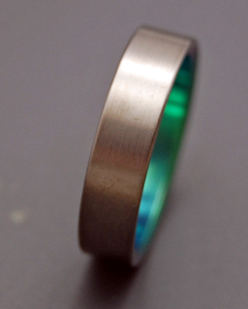 BRUSHED AND GREEN | Green Titanium - Unique Wedding Rings - Green Wedding Rings - Minter and Richter Designs