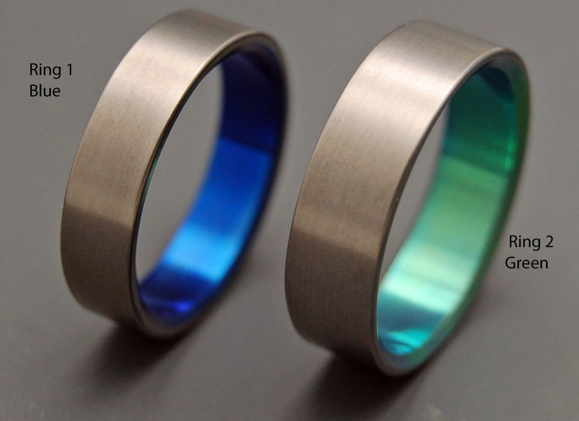 SIMPLE SATIN GREEN BLUE | Hand Anodized Titanium - Unique Wedding Rings - Wedding Ring Sets - Minter and Richter Designs