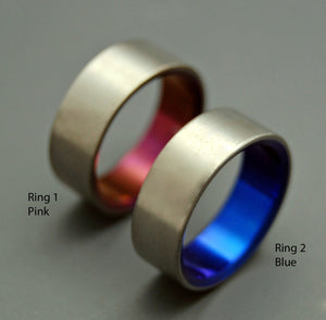 Simple, Satin Pink and Blue | Handmade Titanium Wedding Rings - Blue Rings