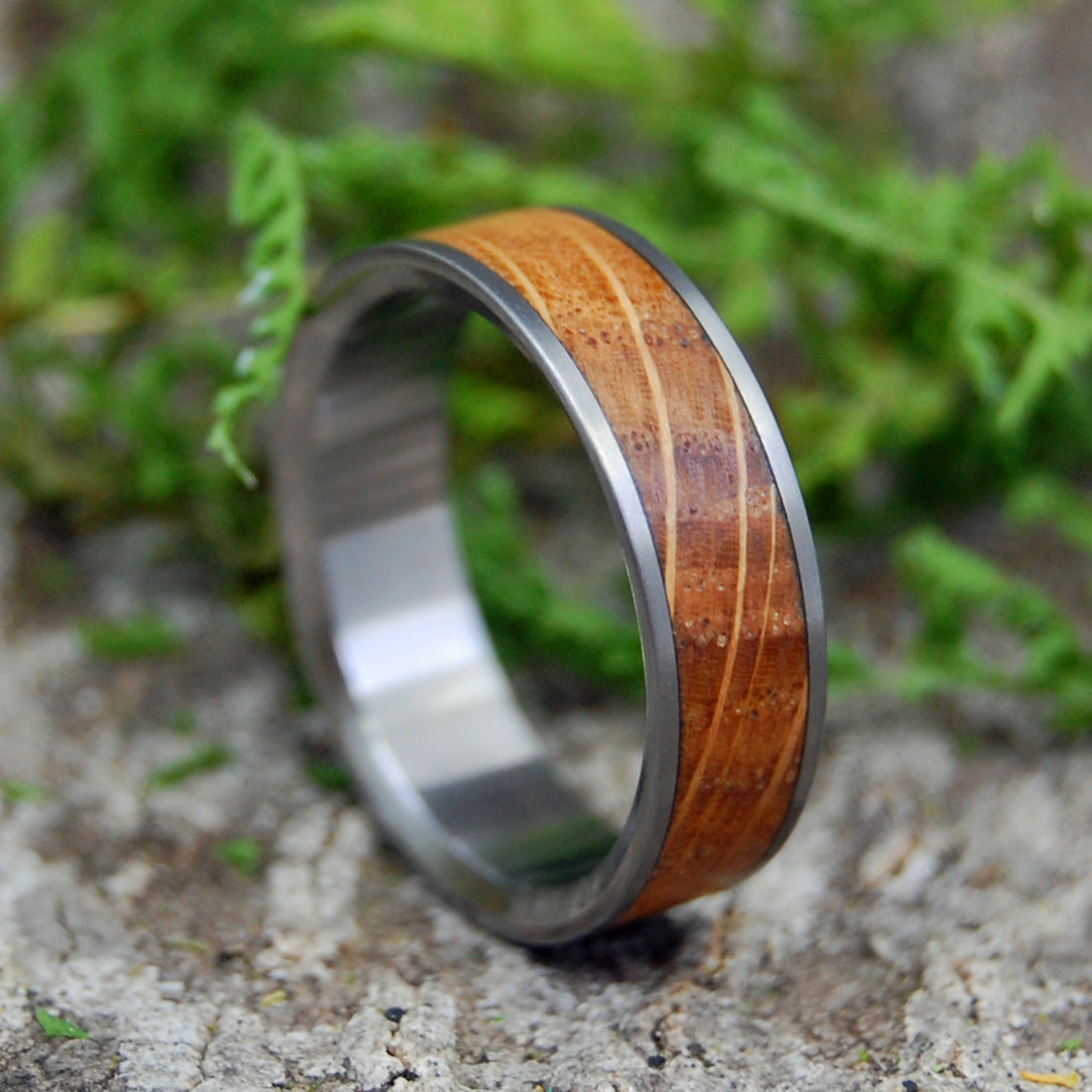 BULLY BOY BOSTON | Whiskey Barrel Wood Titanium Wedding Rings - Minter and Richter Designs