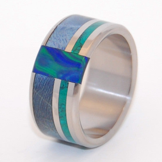 PEACOCK | Blue Box Elder Wood, Jade Stone, Azurite Malachite Stone - Wooden Wedding Rings - Minter and Richter Designs