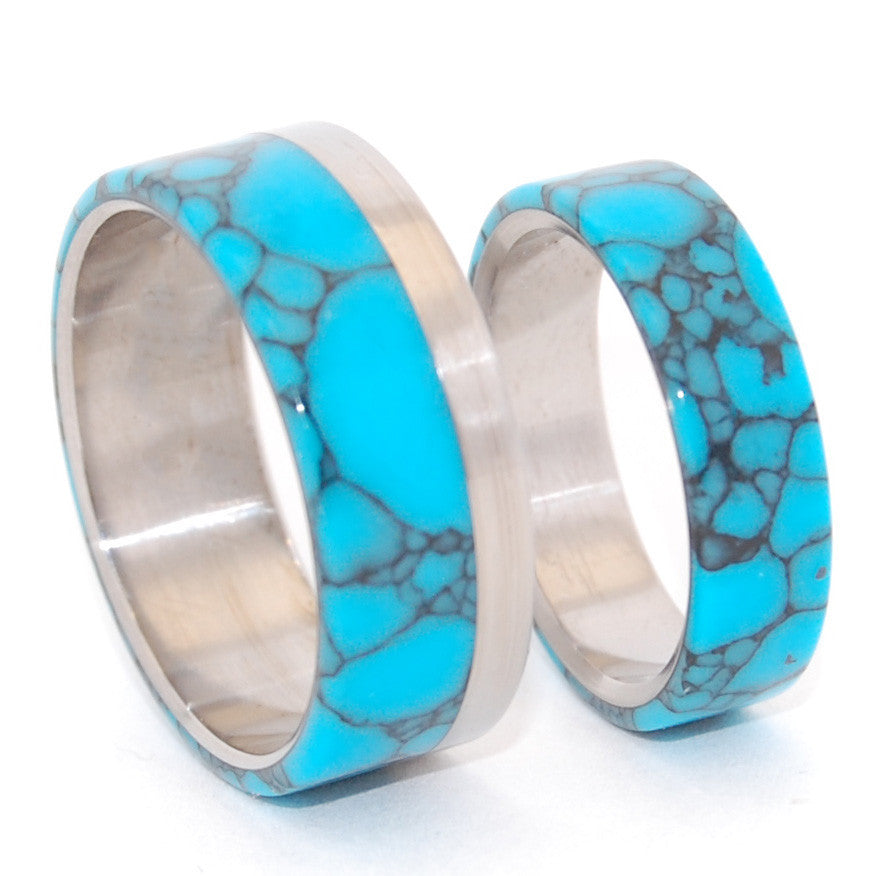 TEMPEST LOOMS | Turquoise & Titanium - Unique Wedding Rings Set - Minter and Richter Designs