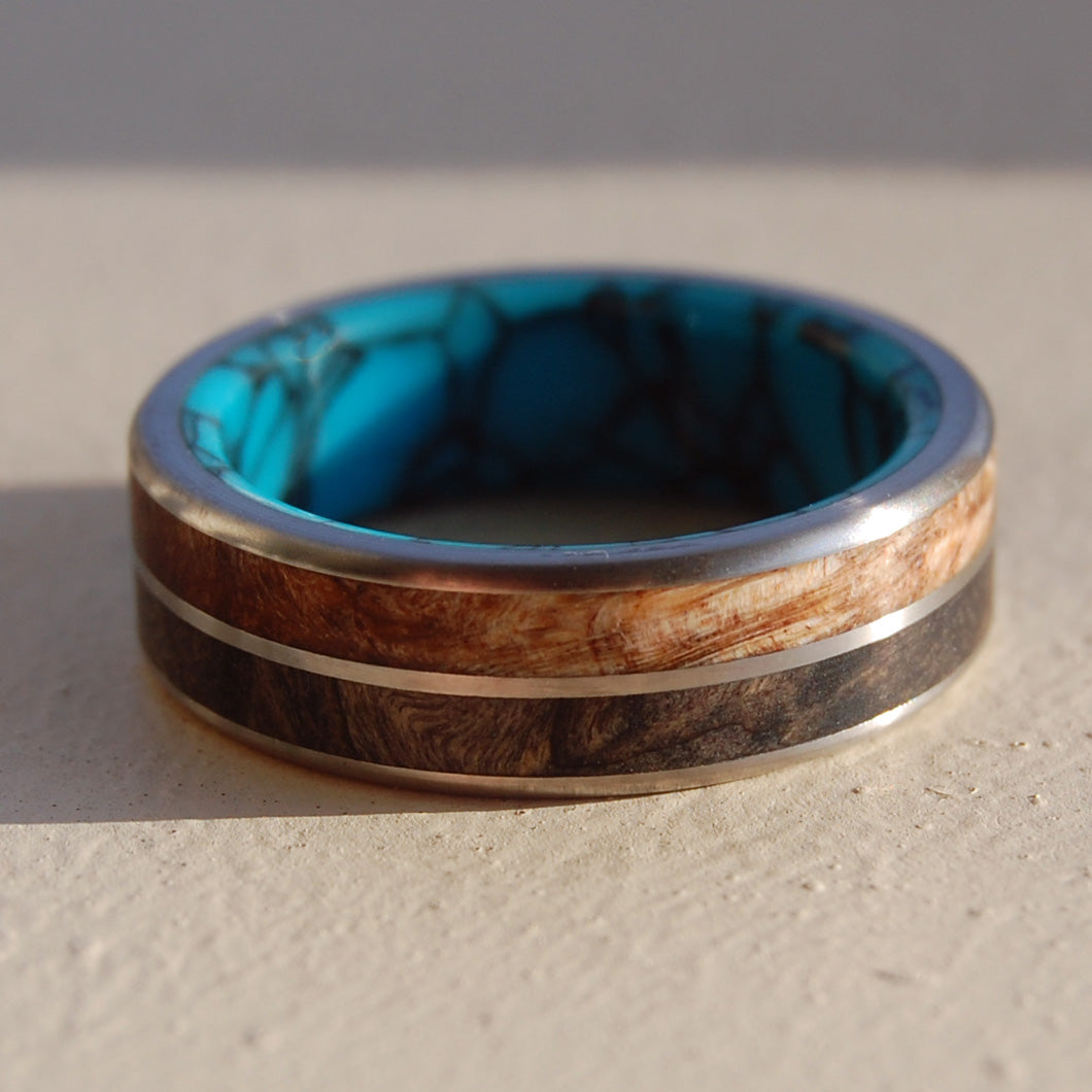 SURRENDER TO LOVE | Spalted Maple Wood & California Buckeye Wood Handcrafted Titanium Wedding Rings - Minter and Richter Designs